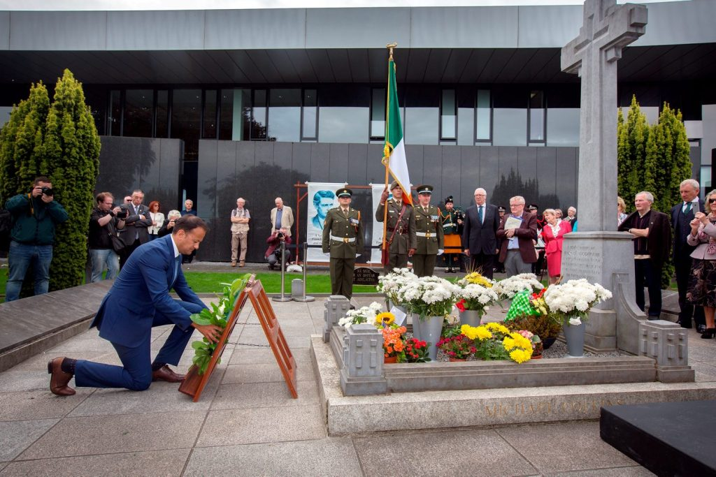 Minister for Social Protection, Leo Varadkar lays a wreath at the grave of Michael Collins during the 94th Collins/Griffith Commemoration at Glasneven cemetery. Photo: Tony Gavin 21/8/2016